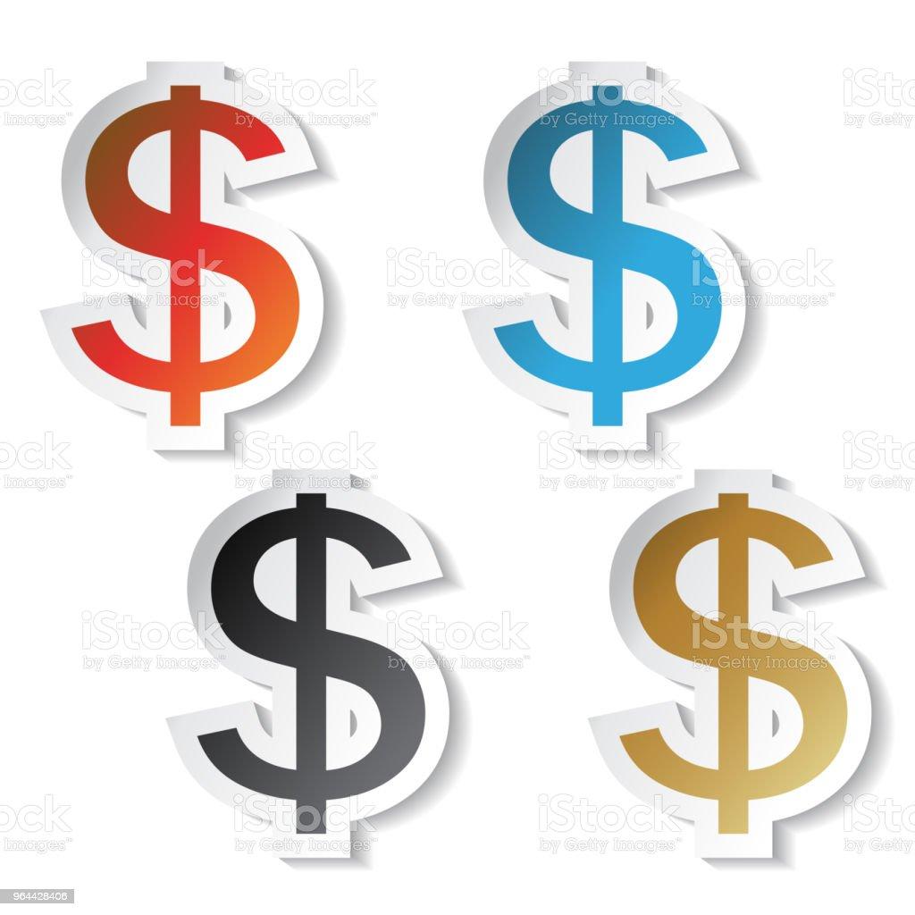 Símbolos de dólar do vetor, adesivos - Vetor de Azul royalty-free