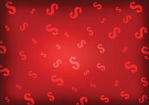 Vector : Dollars symbol on red background vector art illustration
