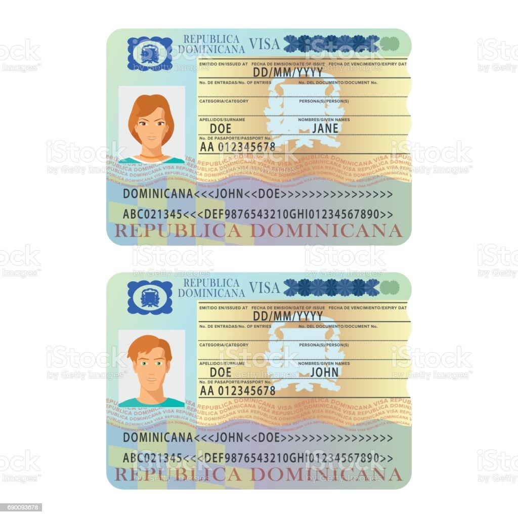 Ilustración de Plantilla De Etiqueta Vector Dominicana Pasaporte ...
