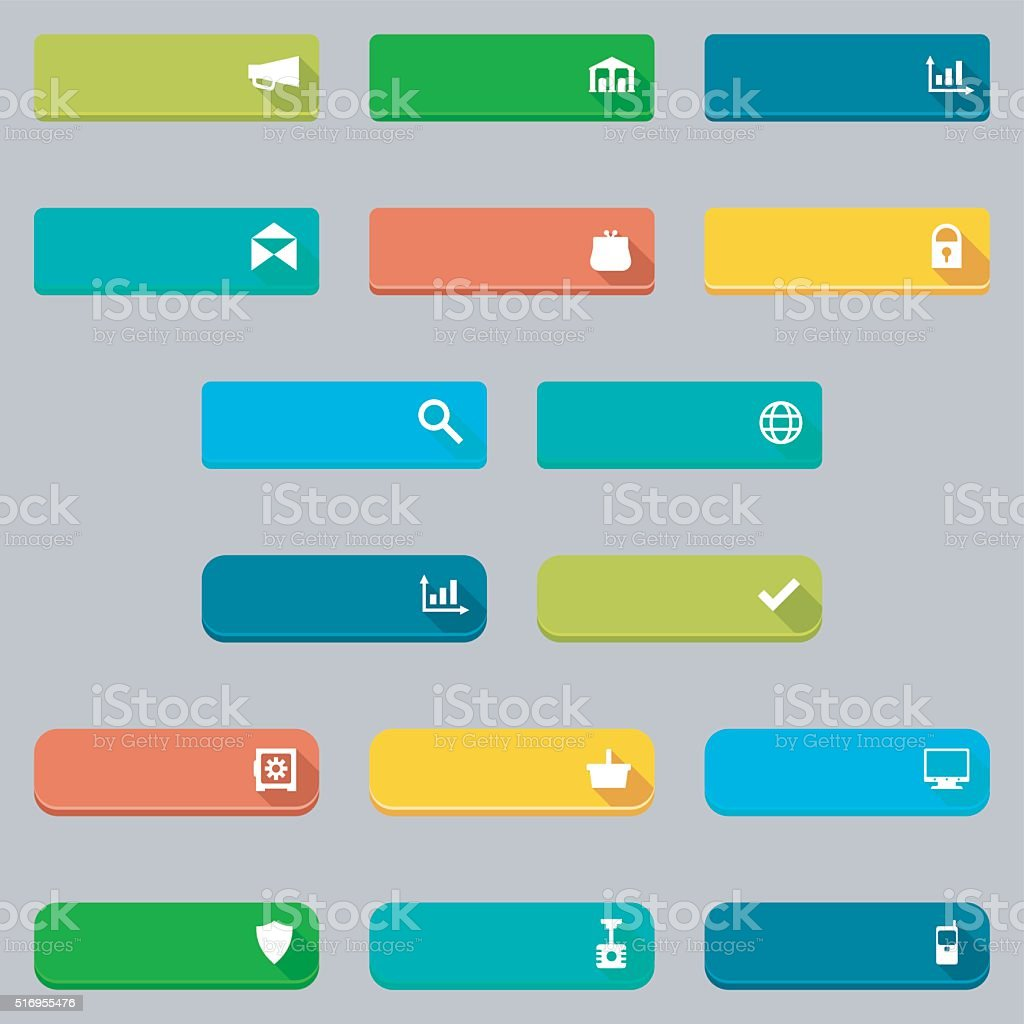 Vector donate and buying concepts flat buttons set.