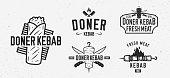 Vector Doner Kebab logo set. 5 Vintage Kebab restaurants emblems. Fast food labels, emblems, logo. Kebab, meat store, restaurant, kebab cafe. Shashlik Logo template.