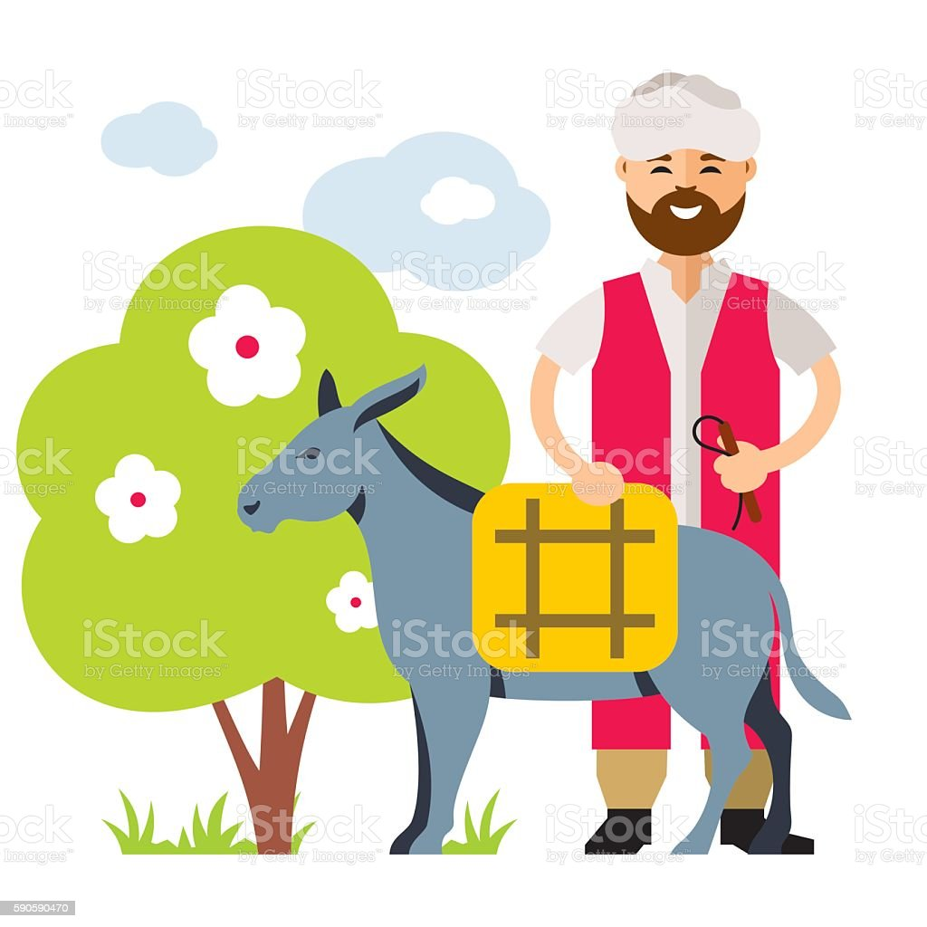 Vector Donkey Drover. Flat style colorful Cartoon illustration. vector art illustration