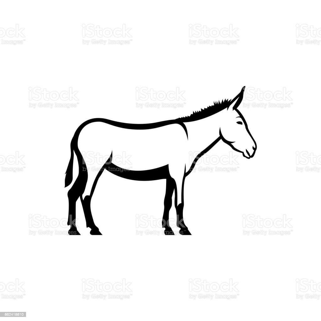 Vector Donkey Silhouette View Side For Retro Symbols Emblems Badges ...