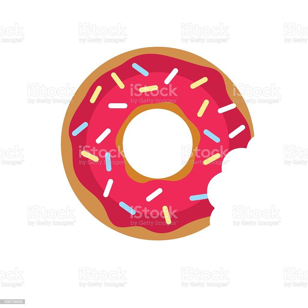 Vector donut icon. Sugar donut illustration. Caramel donut sign. vector art illustration