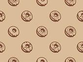 Vector donut seamless pattern. Vector illustration.