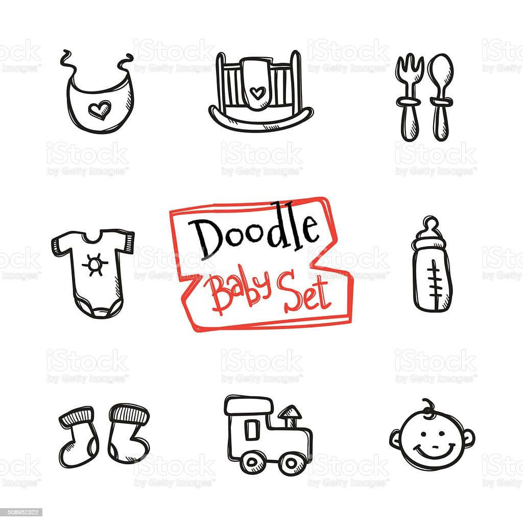 Vector doodle baby icons set. Cute hand drawn collection of vector art illustration