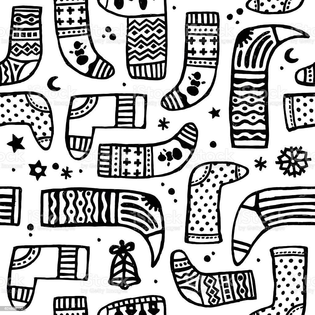 vector doodle black and white pattern of christmas boot stock
