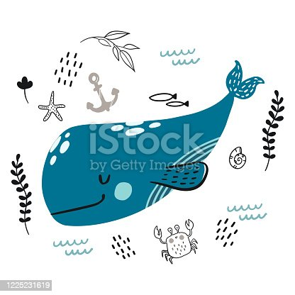 istock Vector doodle blue whale underwater life pattern 1225231619