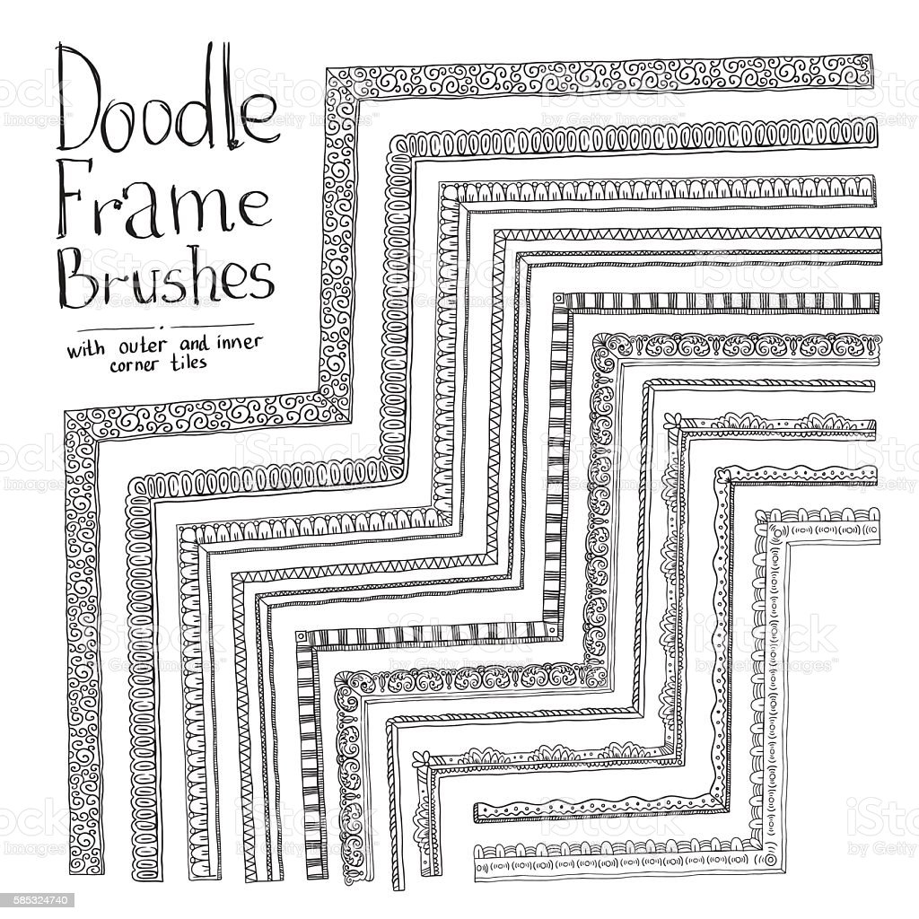 Vector doodle brushes with inner and outer corner - ilustración de arte vectorial