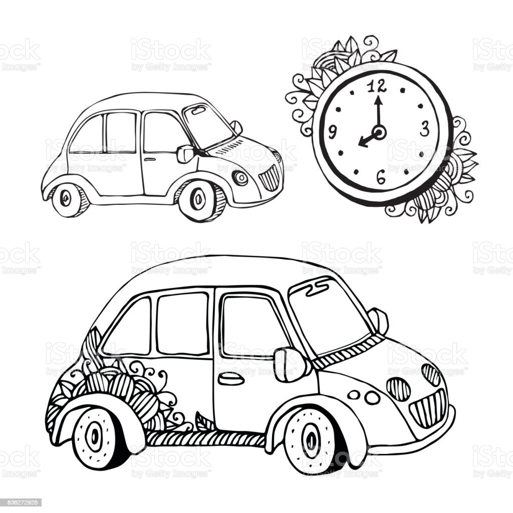 Vector Doodle Cars And Clock Funny Small Car Coloring Book ...
