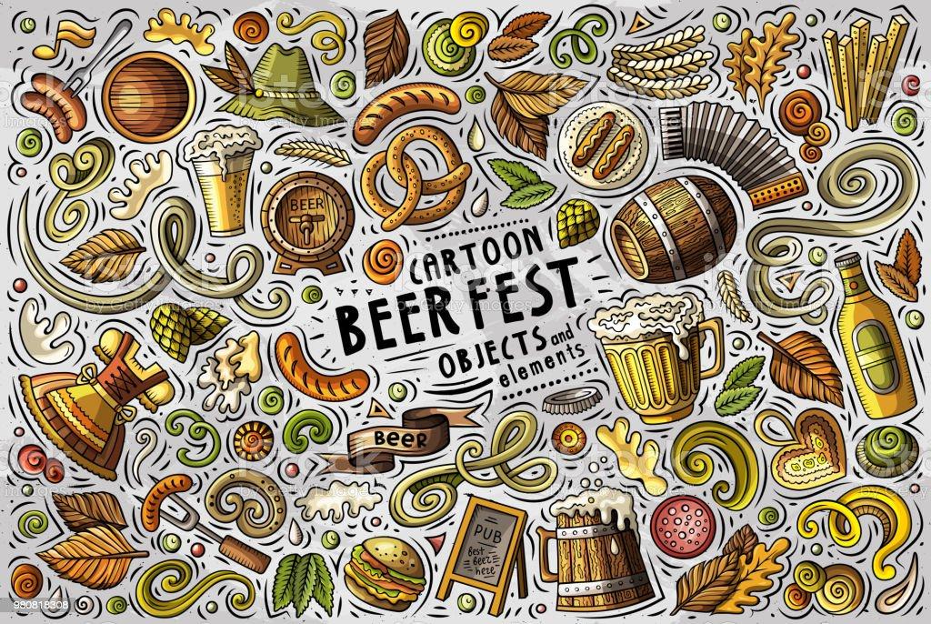 Vector doodle cartoon set of Beer fest objects vector art illustration