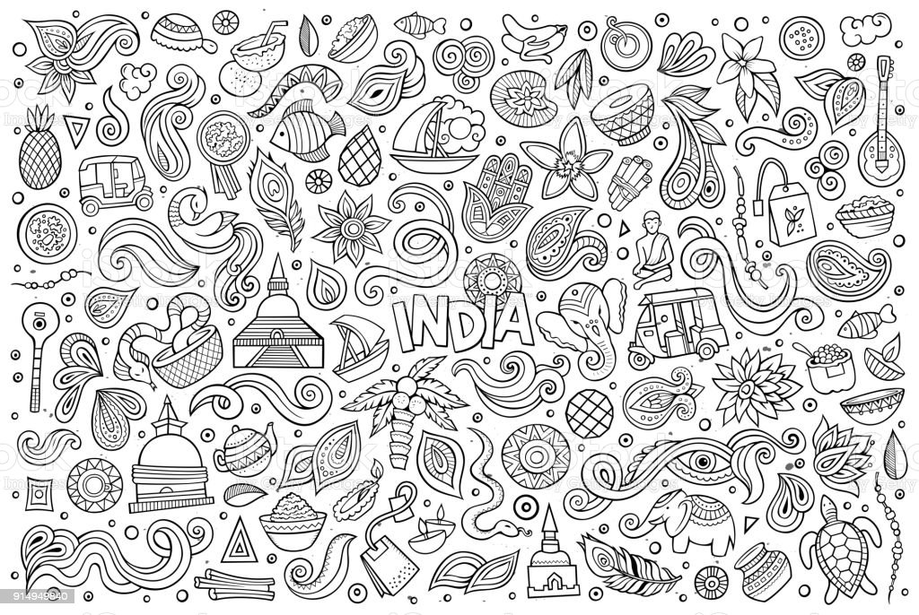 Vector doodle cartoon set of Indian objects and symbols