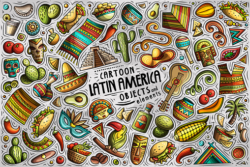 Vector doodle cartoon set of Latin American theme objects and symbols