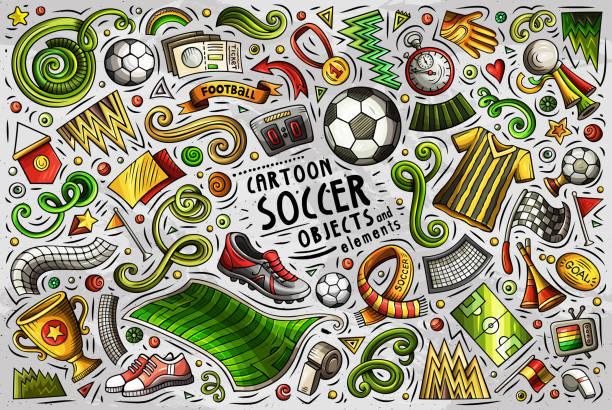 Vektor-Doodle-Cartoon-Set von Fußball-Objekte – Vektorgrafik