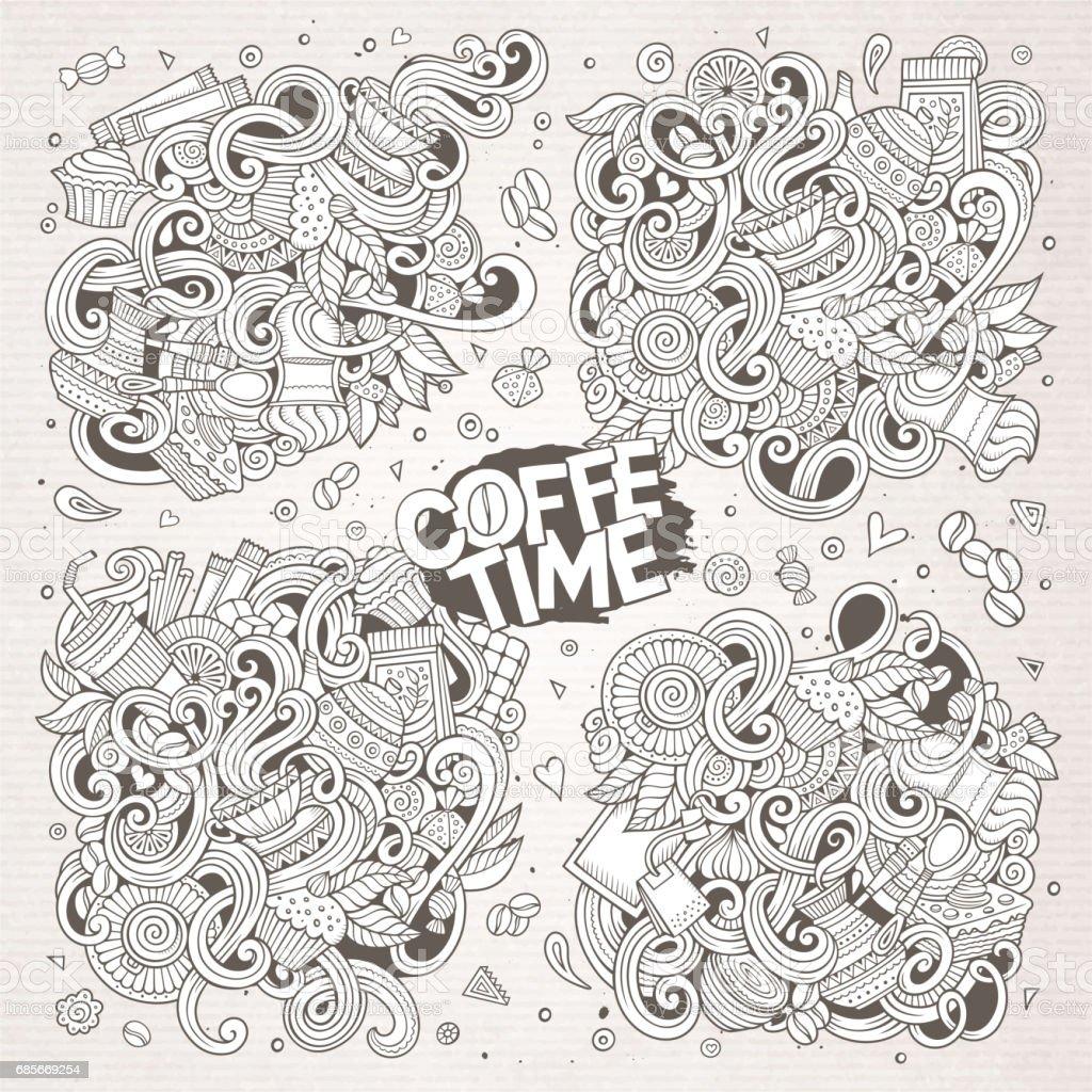向量塗鴉卡通的茶和咖啡設計 免版稅 向量塗鴉卡通的茶和咖啡設計 向量插圖及更多 一個物體 圖片
