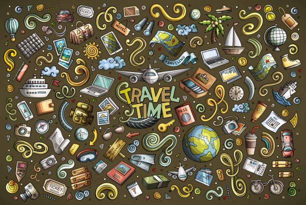 Vektor-Doodle-Cartoon-Satz Reisen Thema Elemente – Vektorgrafik