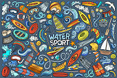 Colorful vector hand drawn doodle cartoon set of Water sport theme items, objects and symbols