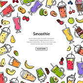 Vector doodle colored smoothie drink background illustration. Banner smoothie fruit fresh drink, cocktail delicious