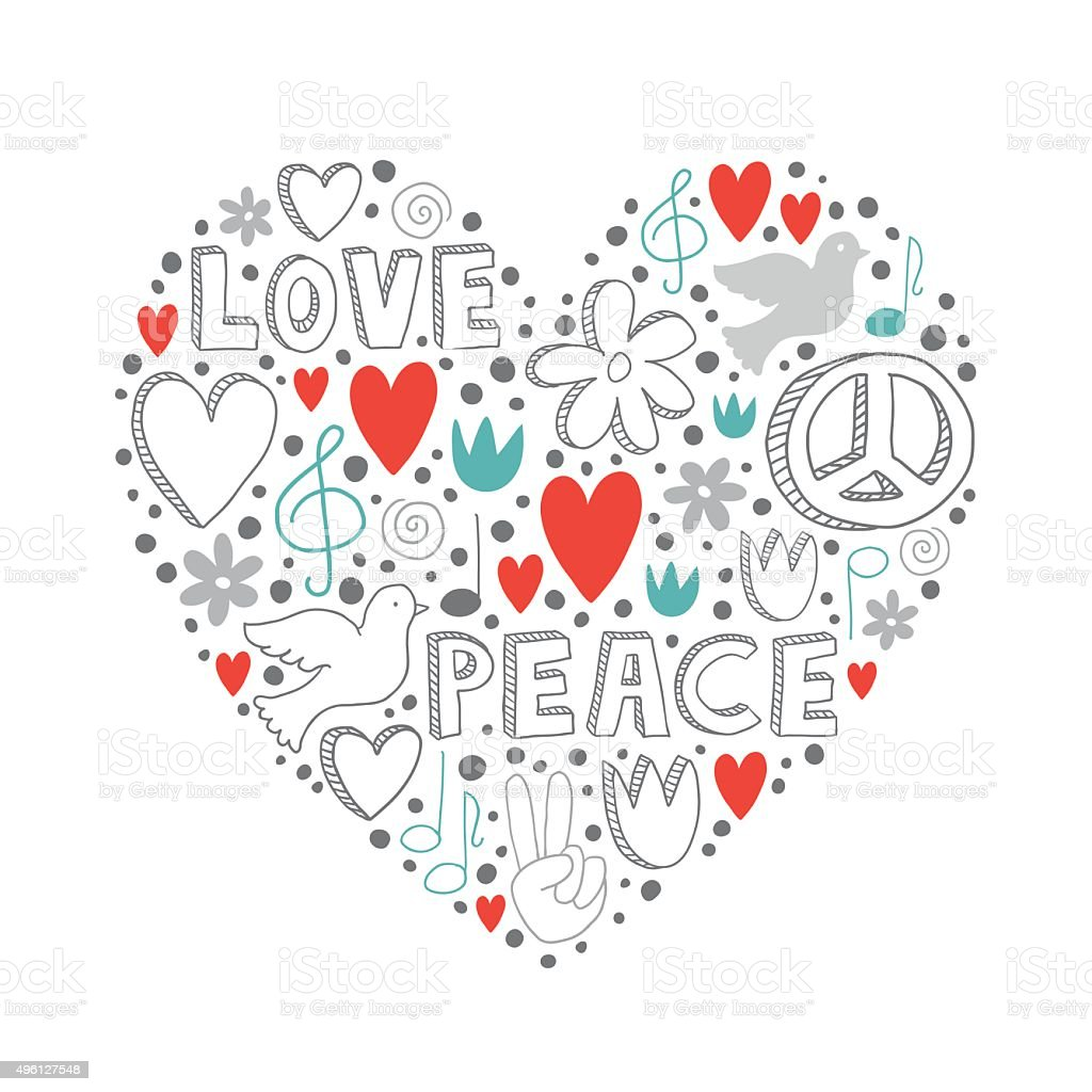 Elementos Do Vetor De Desenhos Amor E Da Paz O Tema Em Forma De