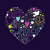 Vector doodle elements on love and peace theme, heart