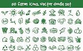 vector doodle farm icons set