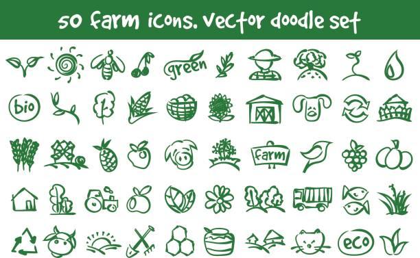 Vektor-Doodle Farm Icons set – Vektorgrafik