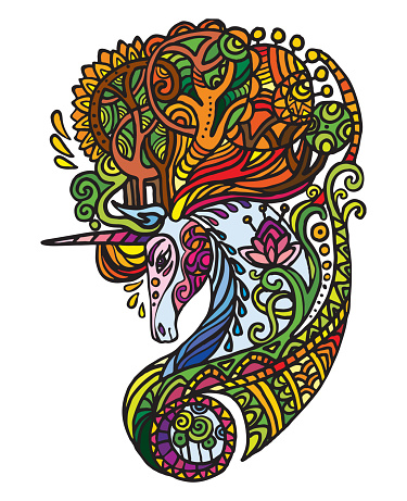 Vector doodle forest unicorn