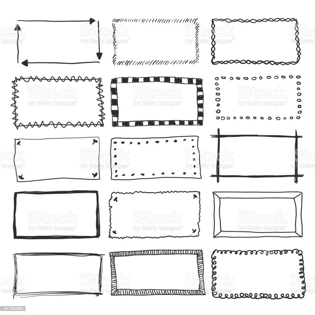 Vector Doodle Frame Borders vector art illustration