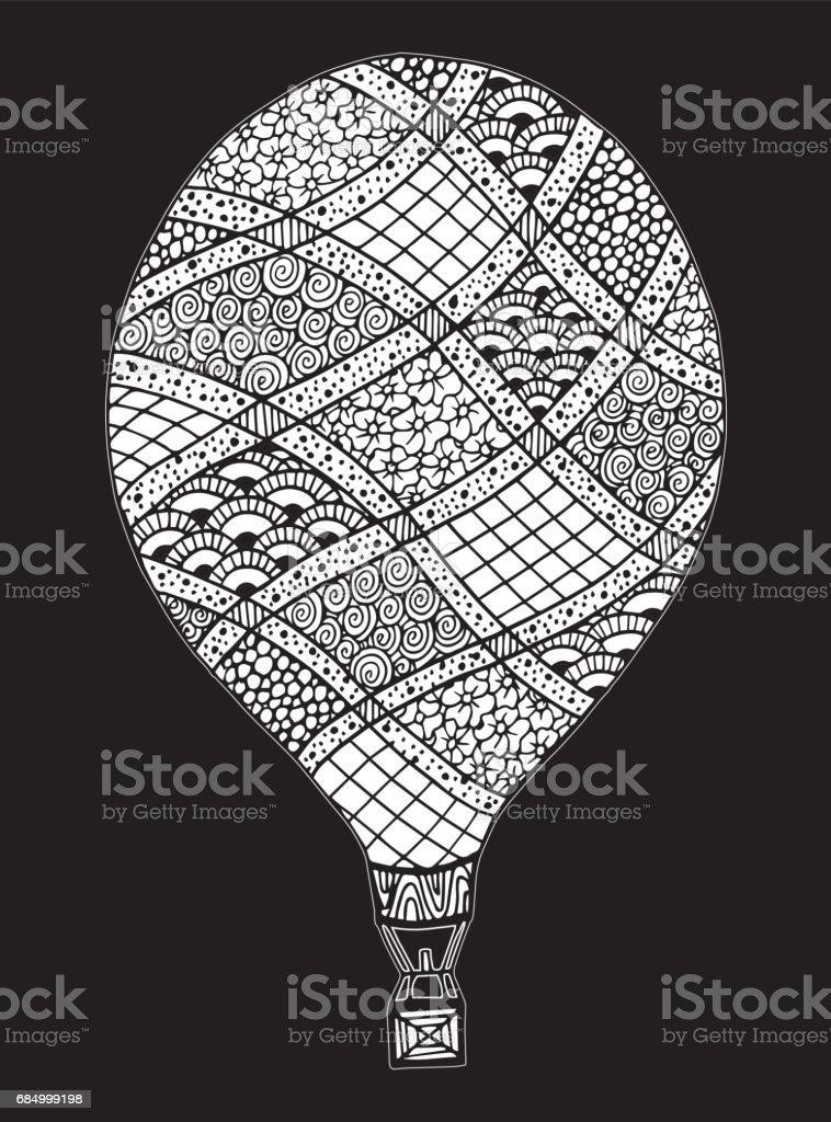 Vector doodle hand drawn hot air balloon illustration - Illustration Coloring, Page, Adult, Wind, Backgrounds Lizenzfreies vector doodle hand drawn hot air balloon illustration illustration coloring page adult wind backgrounds stock vektor art und mehr bilder von abenteuer