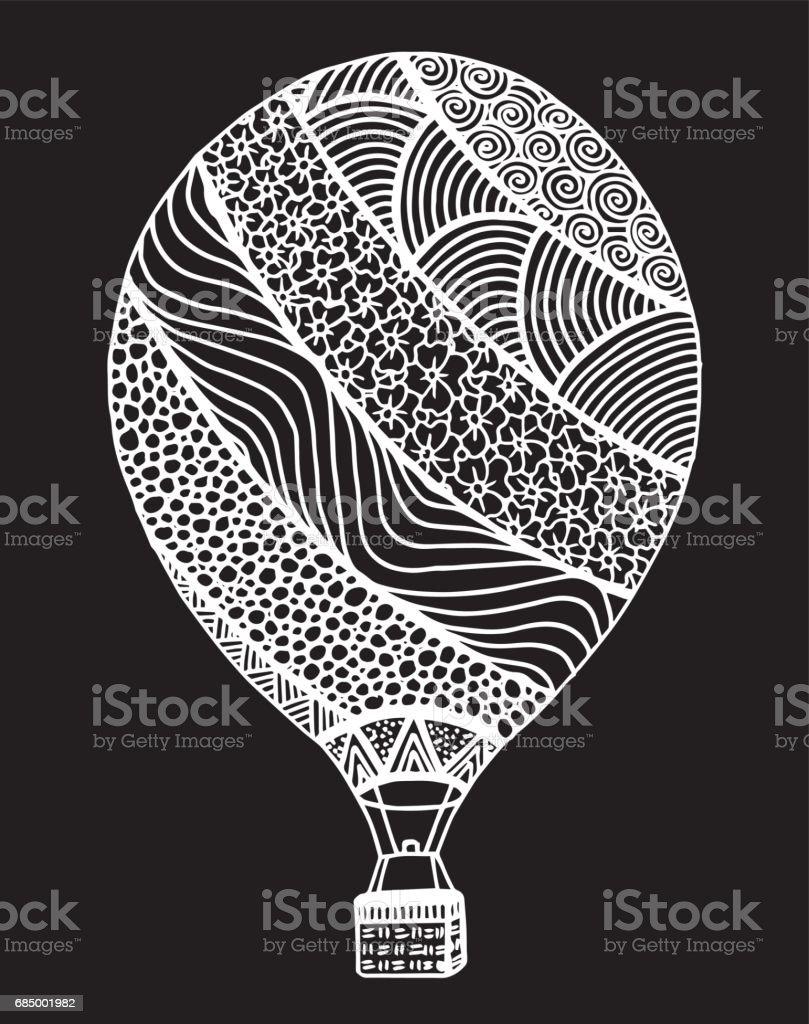 Vektor Doodle Elle Cizilmis Sicak Hava Balon Illustrasyon