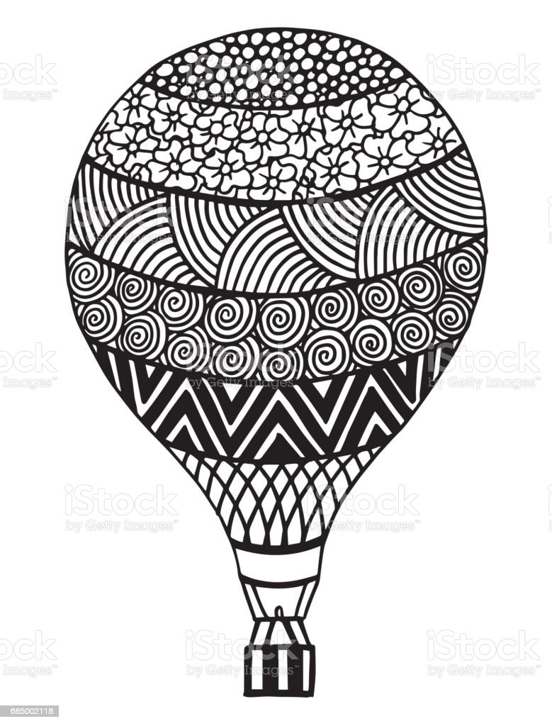 Royalty Free Hot Air Balloon Coloring Page Clip Art Vector Images
