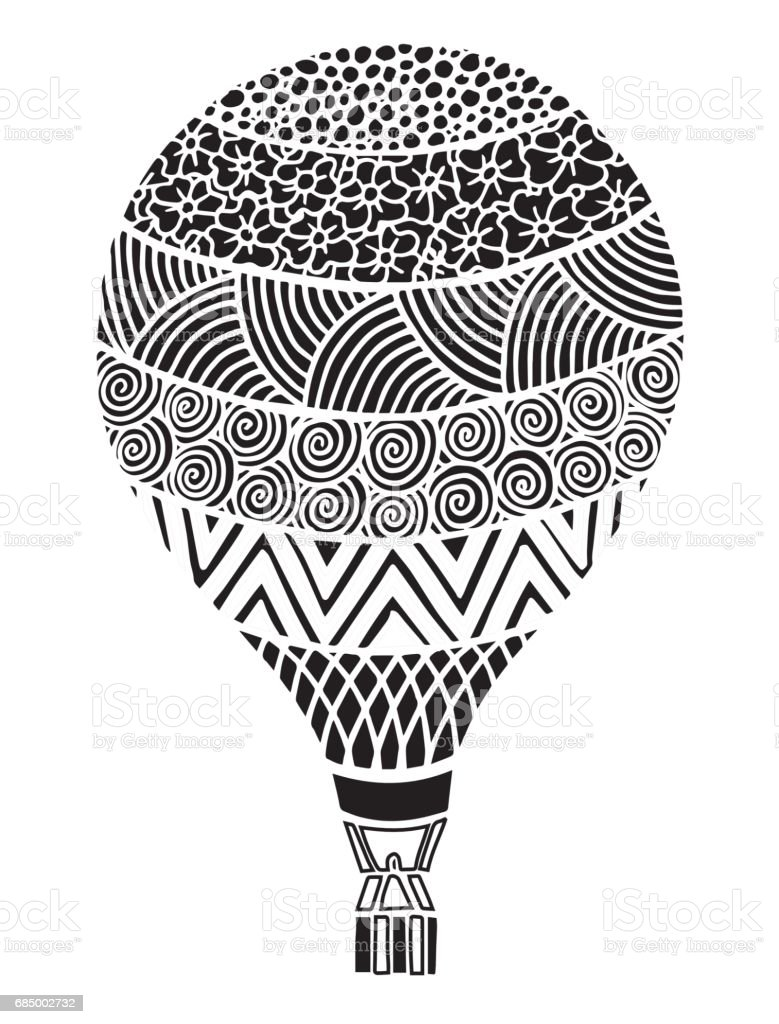 Vector Doodle Hand Drawn Hot Air Balloon Illustration Illustration ...