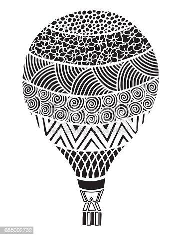 Ilustración de Vector Doodle Dibujado A Mano Aire Caliente Globo ...