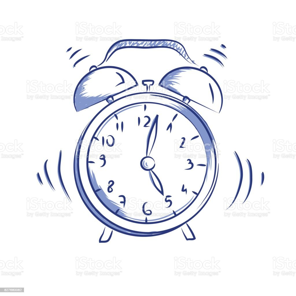 Vector doodle icon alarm clock vector art illustration