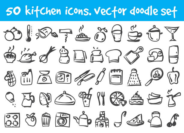 vector doodle icons set Vector doodle kitchen icons set. Stock cartoon signs for design. cooking drawings stock illustrations