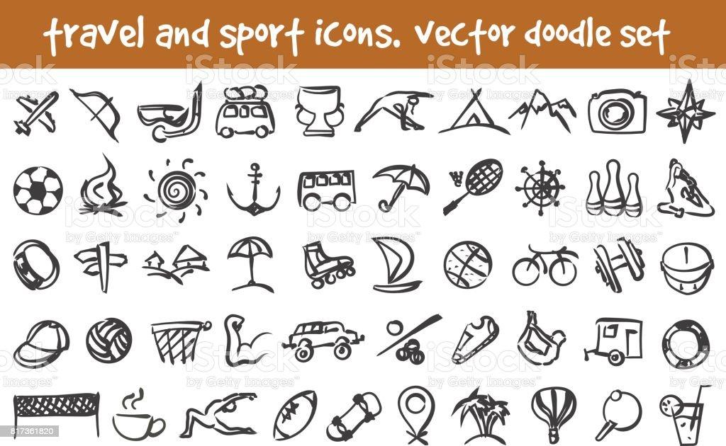 vector doodle icons set vector art illustration