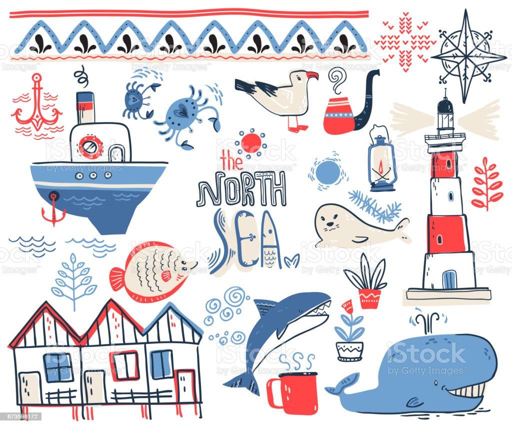 Vector doodle illustration. North sea. Scandinavian style. Colle vector art illustration