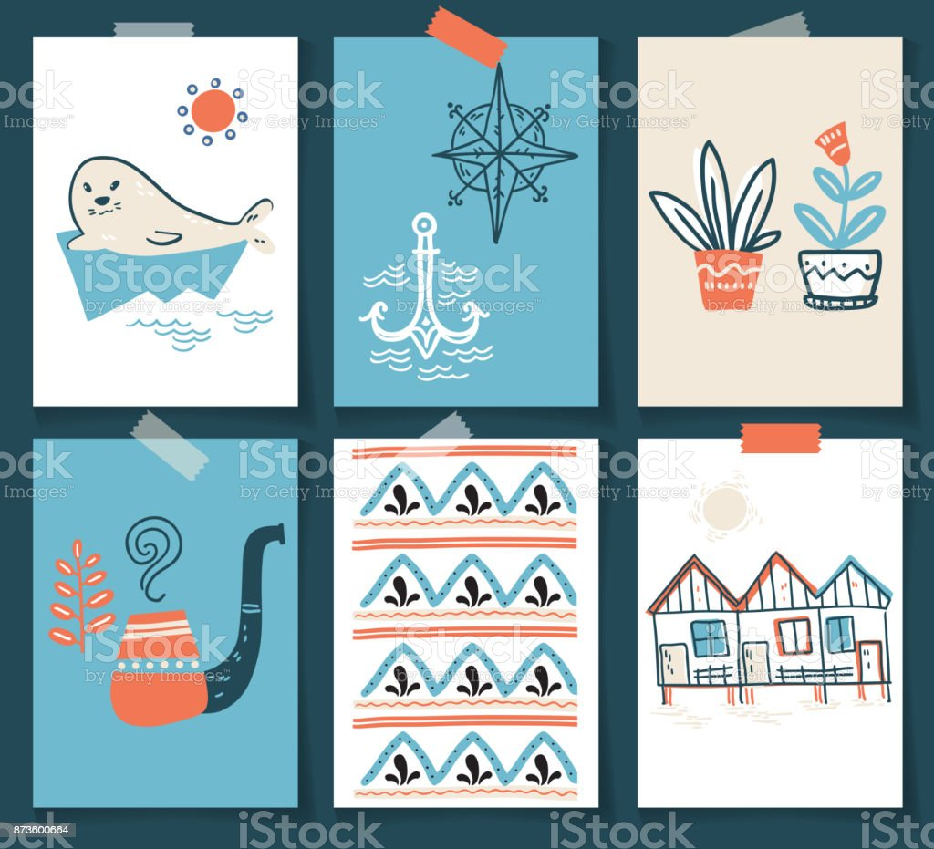 Vector doodle illustration. North sea. Scandinavian style. Ready vector art illustration