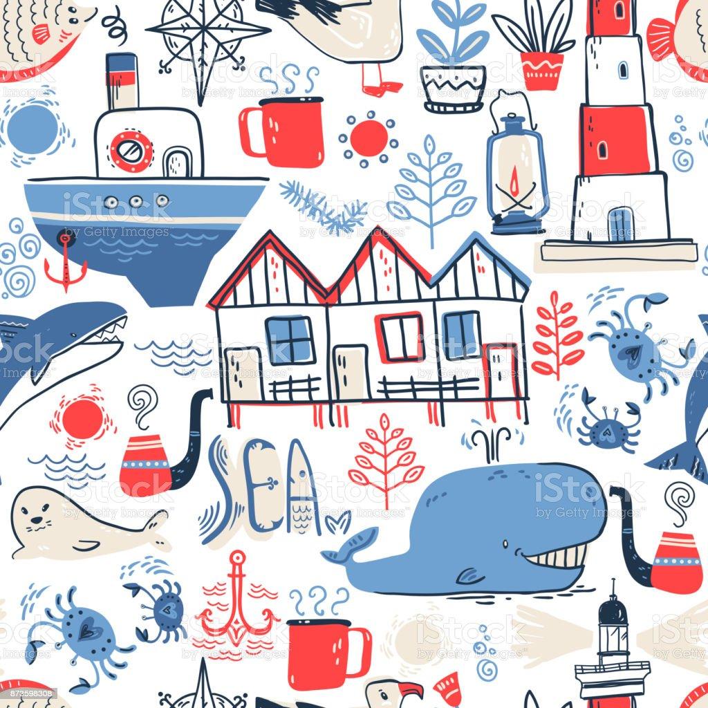 Vector doodle illustration. North sea. Scandinavian style. Seaml vector art illustration