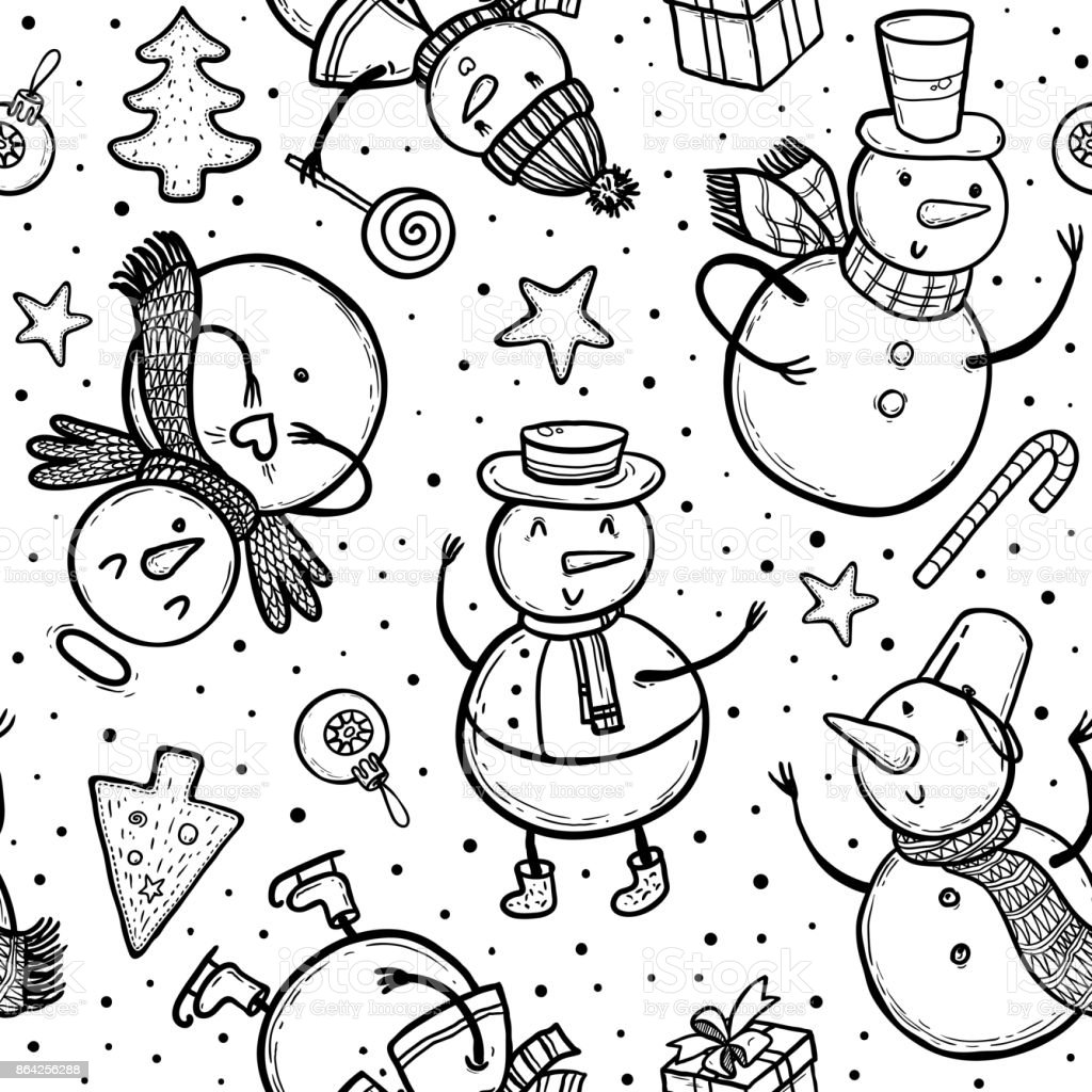 Vector doodle illustration of holidays pattern with snowman, Christmas tree, candy, snowflakes, gifts. Christmas and New Year template for design. royalty-free vector doodle illustration of holidays pattern with snowman christmas tree candy snowflakes gifts christmas and new year template for design stock vector art & more images of angel