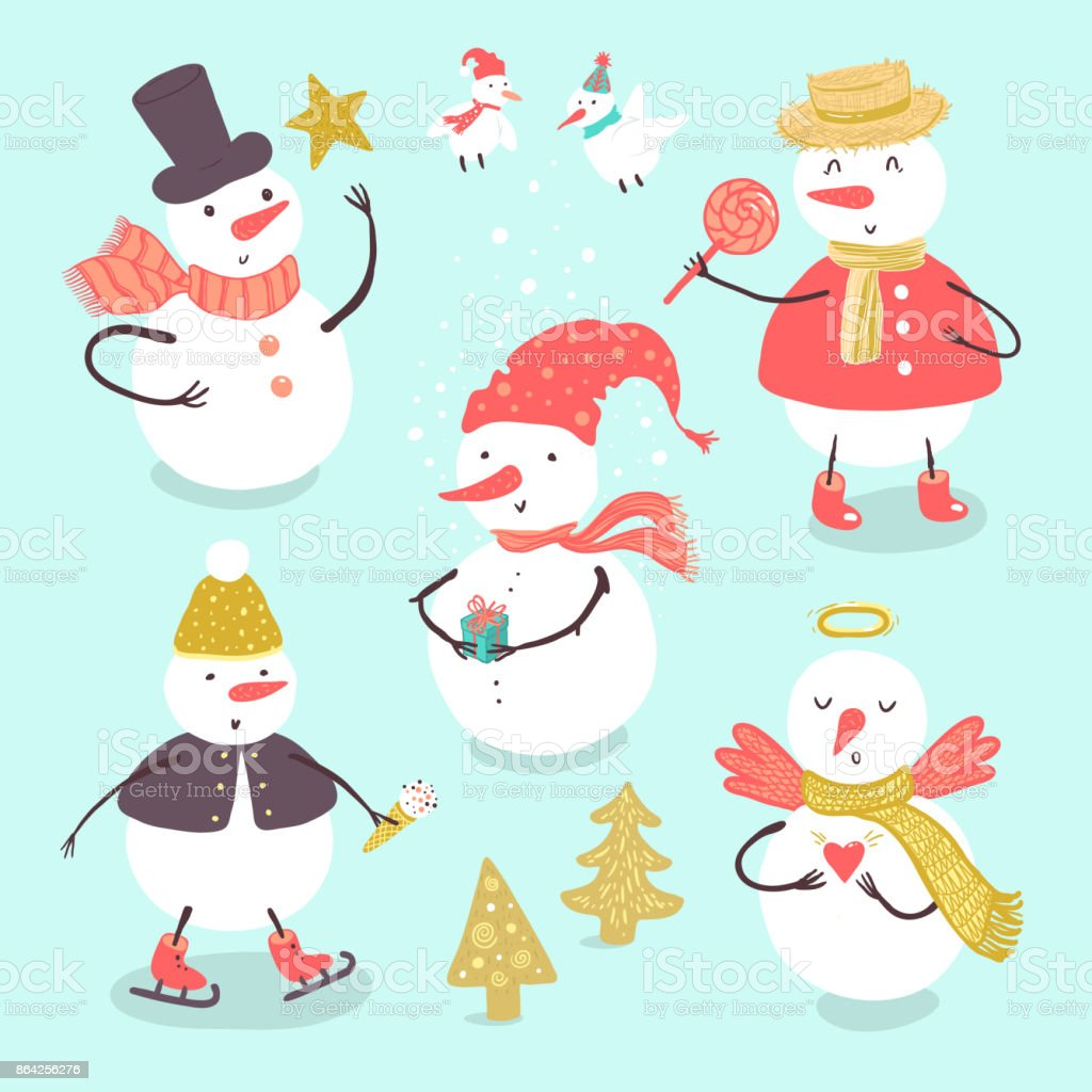 Vector doodle illustration set of winter holidays snowman with Christmas tree, candy, snowflakes, gifts. Funny snowmen in different costumes isolated on white background. royalty-free vector doodle illustration set of winter holidays snowman with christmas tree candy snowflakes gifts funny snowmen in different costumes isolated on white background stock vector art & more images of angel