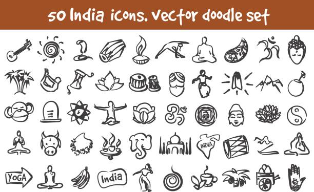 vector doodle India icons set Vector doodle India icons set. Stock cartoon signs for design. tavla stock illustrations