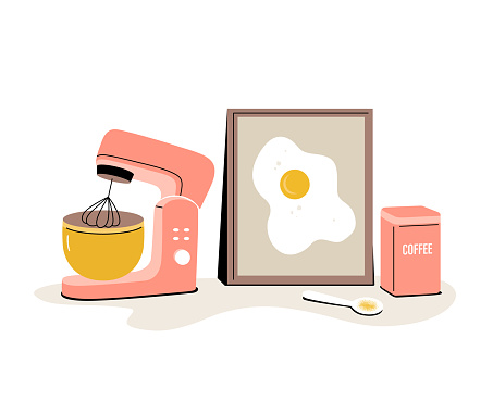Vector doodle Kitchen tools. Kitchenware, cooking baking utensils.  A stylish composition with a planetary mixer, a can of coffee, a spoon and a picture with scrambled eggs.