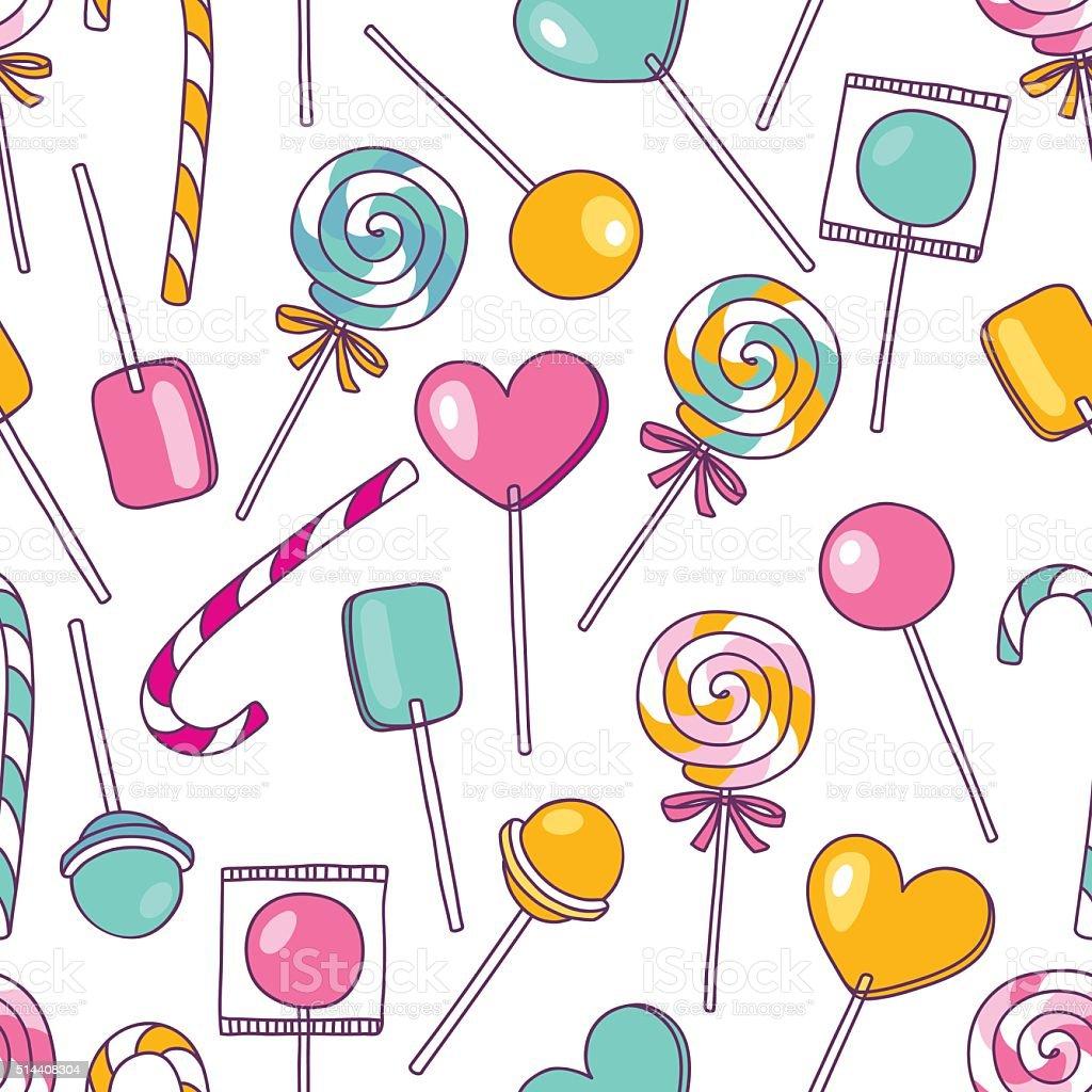 Vector doodle lollipops pattern. Bright sweet food hand drawn il vector art illustration