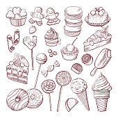 Vector doodle pictures of different desserts sweets and cakes. Sweet cake sketch doodle, illustration of sweet food