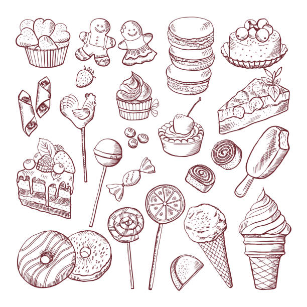 Vector doodle pictures of different desserts sweets and cakes Vector doodle pictures of different desserts sweets and cakes. Sweet cake sketch doodle, illustration of sweet food candy drawings stock illustrations