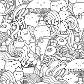 Vector doodle seamless pattern with ice cream, fruits and waves.