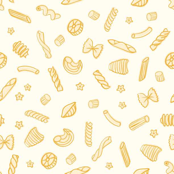 Vector Doodle Seamless Pattern with Various Pasta Types Vector Doodle Seamless Pattern with Various Pasta Types penne stock illustrations