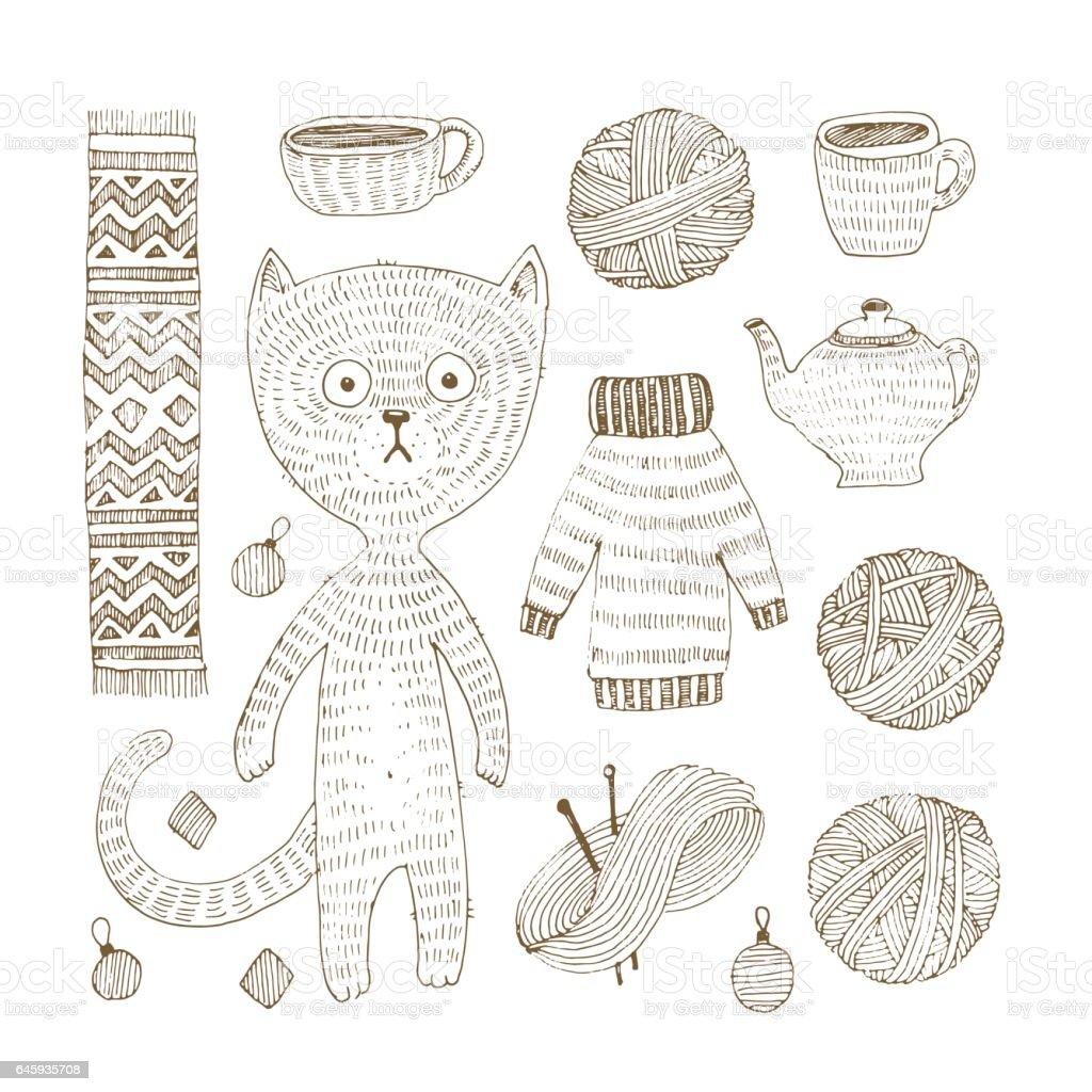 Ilustración de Vector Doodle Juego De Gato Suéter Bufanda Bola Clew ...