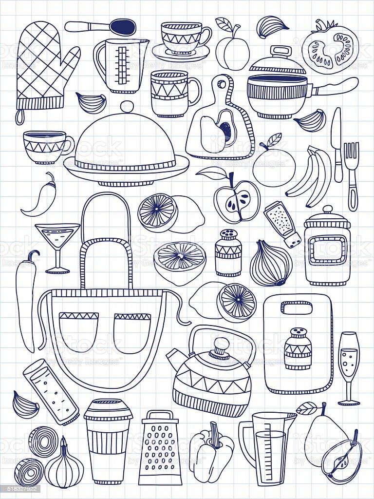 Ilustración de Vector De Garabato Conjunto De Utensilios De Cocina ...